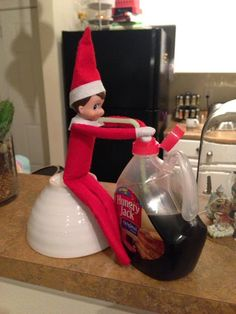 Elf on the Shelf ideas Put pancake box out and make it fall over while open