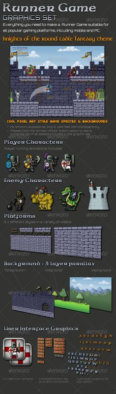 Knights Runner Game Graphic Set  #GraphicRiver         Everything you need to make a Runner Game suitable for iOS,