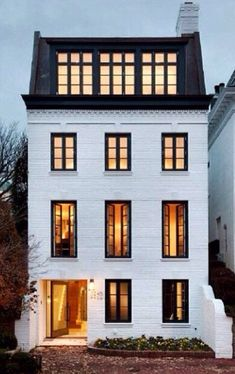 Georgetown House Painted white brick, black framed windows and modern Mansard roof--killer exterior Architecture Design, Architecture Classique, Architecture Career, Computer Architecture, Architecture Company, Beautiful Architecture, Landscape Architecture, New Classical Architecture, Victorian Architecture