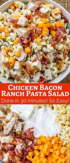 We love this Chicken Bacon Ranch Pasta Salad so much we've made it twice this week! salad in a cup Chicken Bacon Ranch Pasta Salad - Dinner, then Dessert Bacon Ranch Pasta Salad, Chicken Bacon Ranch Pasta, Chicken Pasta Salad Recipes, Pasta Food, Shrimp Pasta, Chicken Salad Recipe Easy Healthy, Cold Chicken Recipes, Ranch Dressing Chicken, Desert Recipes
