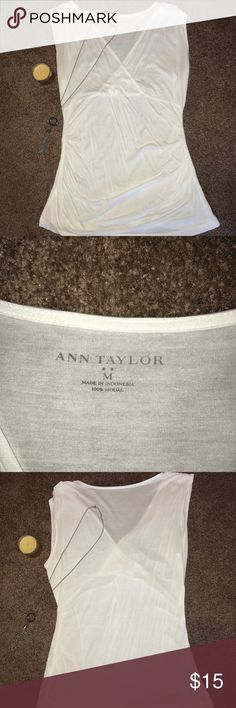 Sleeveless Cotton Shirt Shirt looks brand new! It is slightly see-through so it is probably best to wear a cami or bralette underneath! Ann Taylor Tops Tank Tops