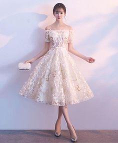 Cute champagne short prom dress, homecoming dress