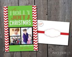 Chevron Christmas Photo Card by PEACEofKERIDesigns on Etsy #peaceofkeridesigns