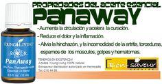 """""""PANAWAY"""".-Reduce el dolor y la inflamación, aumenta la circulación y acelera la curación. Alivia la hinchazón y la incomodidad de la artritis, torceduras, espasmos de los músculos, golpes y hematomas. Calambres, calor en los músculos después de hacer ejercicio.TENEMOS EN EXISTENCIA! Aceites Young Living 100% natural Bonsaveur distribuidor autorizado en Hermosilllo Tel.-216 44 99."""