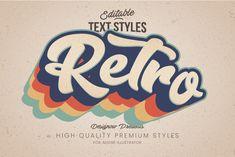 Retro Vintage Illustrator Text Style by Designow Group on Typo Logo Design, Retro Graphic Design, Typography Logo, Text Design, Design Design, Retro Poster, Retro Font, Retro Logos, Vintage Logos