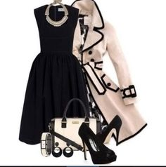 A fashion look from July 2013 featuring short dresses, pink trench coats and black peep toe shoes. Browse and shop related looks. Lila Outfits, Classy Outfits, Stylish Outfits, Looks Chic, Professional Outfits, Work Attire, Work Fashion, Fashion Fashion, Mode Style