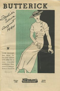 August 1934 Butterick Fashion News pattern booklet cover