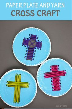 Paper Plate Yarn Cross Craft For Kids - Easter Craft Sunday School Crafts For Kids, Bible School Crafts, Bible Crafts For Kids, Vbs Crafts, Crafts For Kids To Make, Easter Crafts For Kids, Kids Church Crafts, Train Crafts, Easter Ideas