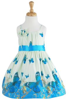 New Butterfly Print Summer Dress- Turquoise