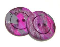 MARBLED Round #Polymer #Clay BUTTONS  Set of 2 in by @KatersAcres, $2.25 #promofrenzy