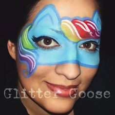 My Little Pony Rainbow Dash face painting by Glitter Goose.