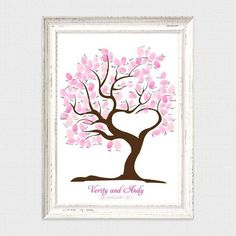 TREE OF LOVE FINGERPRINT GUEST BOOK from i do it yourself #wedding #guestbook #fingerprint #thumbprint #tree