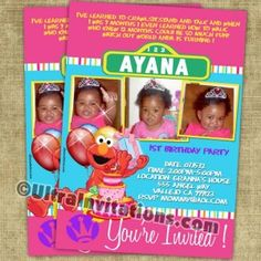 Perfect for the little girl in love with the sesame street character of elmo, with her photo and personalized wording. Elmo Birthday Invitations, Invites, Girls In Love, Little Girls, Sesame Street Invitations, Elmo Sesame Street, Sesame Street Characters, Street Girl, Birthday Photos