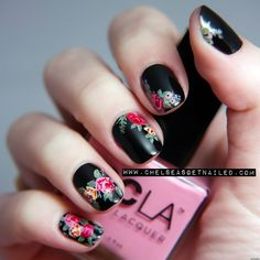 I absolutely adore these vintage style flowers and I really like the pop of color against the black. This is a must try.