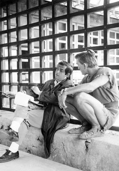Kirk Douglas and director Stanley Kubrick on the set of  Spartacus (1960)