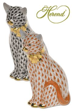 Herend Hand Painted Porcelain Figurine Tall Sitting Cats Black Rust Fishnet Gold Accents.