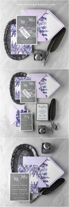 d14307f3be3ab6 Romantic Wedding Invitations Real Lace Invites Personalized Lavender Purple  Stationery 10 BBCG Z