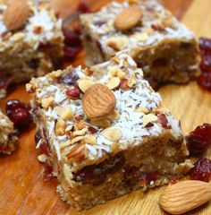 #paleo Nut Bars: 1 cup of slivered almonds; 1 cup of pecans; ½ cup of nut hazelnut or almond flour, ½ cup of unsweetened dried coconut; ½ cup almond butter; ½ cup of coconut oil; ¼ cup of honey; 2 tsp of pure vanilla; ½ teaspoon of salt; 1 cup of dried fruit, like cranberries
