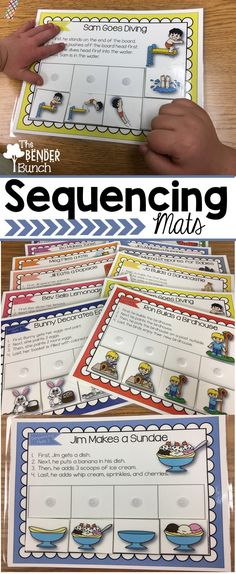 Teach sequencing, transitional words, following directions, and language skills all-in-one with these 4-step sequencing mats.