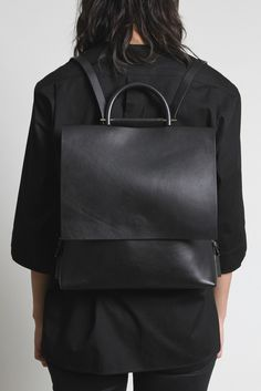 Minimal Backpack - black leather rucksack, chic accessories