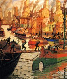 """Quinquela Martin « """"Quinquela y los barcos"""""""