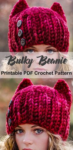 Make one of these cozy hat crochet patterns today! Make one of these cozy hat crochet patterns today! winter hat crochet patterns - bulky yarn h Bonnet Crochet, Crochet Beanie, Knitted Hats, Crochet Hooks, Free Crochet, Knit Crochet, Gato Crochet, Crochet Vests, Crochet Cape