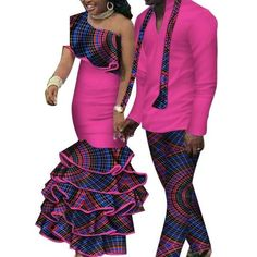 African Matching Clothing For Couple Man Woman Cotton Print Send Your – Afrinspiration Couples African Outfits, African Attire, African Wear, Latest African Fashion Dresses, African Print Fashion, African Shirts For Men, Traditional African Clothing, Matching Couple Outfits, African Dashiki