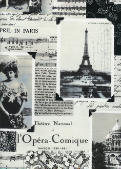 April in Paris France Black White Collage Fabric by AllegroFabrics, $10.00  put this into a frame maybe