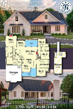 Architectural Designs Exclusive Farmhouse Plan gives you bedrooms, Ranch House Plans, Craftsman House Plans, New House Plans, Dream House Plans, House Floor Plans, My Dream Home, 3 Bedroom Home Floor Plans, The Plan, How To Plan