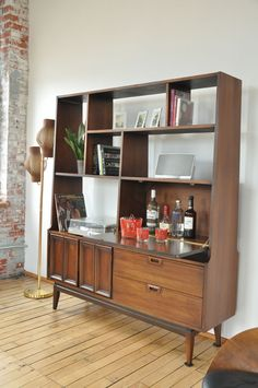 1960's Mid Century Room Divider Bookcase Entertainment Bar | eBay