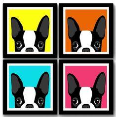 Kit 4 Quadros Bulldog Frances Pop Art