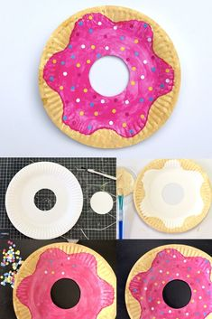 IDEA: Sprinkle kindness everywhere display How to Make a Paper Plate Doughnut – Make Film Play This craft has way fewer calories than the real thing (do not eat)! All you need is a paper plate, paints, and paper sprinkles to make this sweet kids craft. Craft Activities For Kids, Preschool Crafts, Projects For Kids, Kids Crafts, Craft Projects, Arts And Crafts, Easy Crafts, Craft Ideas, Kindergarten Crafts