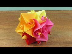 Frühlings Deko Blumen Ball Origami Idee Tolle Oster Idee Rosen Stern falten - YouTube
