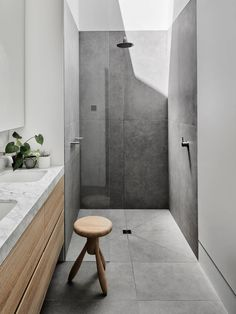 grey flooring Bathroom Shower Design // loving the light wood cabinets and how they cut the grey floor tile in this shower // Bathroom Tile Designs, Bathroom Renos, Modern Bathroom Design, Bathroom Interior Design, Bathroom Renovations, Bathroom Ideas, Bathroom Tiling, Bathroom Vanities, Bath Design
