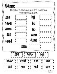 HOMOPHONES This is a freebie from my Read Across America Literacy Centers and Activities. This think sheet requires students to cut and glue the homophone p. Reading Workshop, Reading Skills, Teaching Reading, Guided Reading, Free Reading, Teaching Kids, Learning, 2nd Grade Ela, 3rd Grade Reading