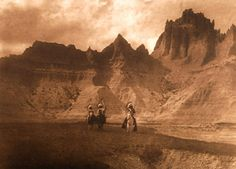 """Plate 119 In the Badlands - Sioux"" Vintage Photogravure. http://www.valleyfineart.com/artistart.asp?type=curtisphotogr&At=EdwardSCurtis"