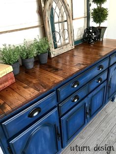 Navy blue buffet with planked top by UTurn design