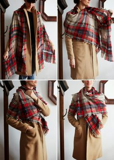 How to Tie a Scarf: Simple shoulder wrap with a blanket scarf How To Wear A Blanket Scarf, Ways To Wear A Scarf, How To Wear Scarves, Ways To Tie Scarves, Looks Style, My Style, Scarf Knots, Scarf Wrap, Fall Outfits