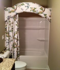 Cornice board in bathroom. a version of this would look great for your main bath Tiff