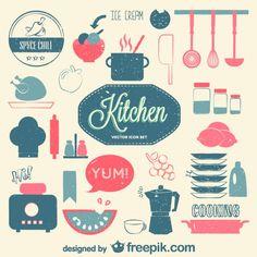 Vecteur de cuisine ensemble rétro plat Vecteur gratuit