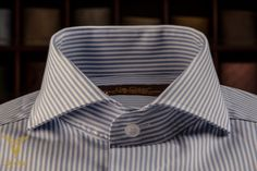Blue Pencilstripe Pique Dress Shirt With Cut Away Spread Collar And Rounded Double Button Cuffs