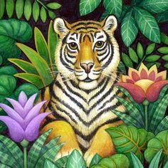 Medium Animal Paintings, Animal Drawings, Silk Painting, Watercolor Paintings, Jungle Art, Haitian Art, Tiger Art, Tropical Art, Wildlife Art