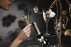 """An enchanting tasting experience :  This elegant gesture showcases the champagne moment and offers """"a memorable experience. Please Drink Responsibly"""