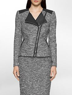 a short jacket featuring tweed fabric, an asymmetrical front zip and shoulder trim for a signature, moto-inspired look. Suits For Women, Jackets For Women, Clothes For Women, Moto Jacket, Blazer Jacket, Tweed Fabric, Business Dresses, Peplum Dress, Calvin Klein