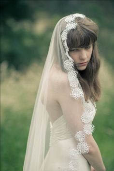 Mantilla Veil or One or Two tiered veil with by hummingbirdroad, $135.00