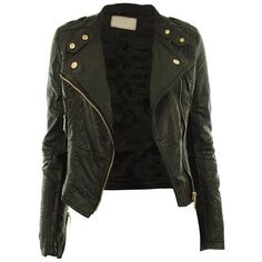 Diana New Womens Faux Leather Biker Gold or Metal Button Zip Crop... (€37) ❤ liked on Polyvore featuring outerwear, jackets, tops, coats, leather jacket, vegan biker jacket, imitation leather jacket, cropped jacket, vegan leather jacket and fake leather jacket