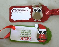 Christmas tags with the Stampin Up Owl