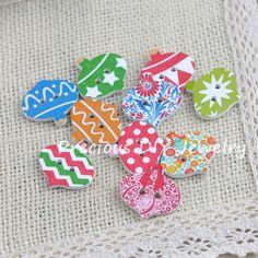 100pcs Bag 15 Millimetri Rotonda Assortiti Floreale Stampato Bottoni Decorativi di Legno per Fai da Te Cucito Crafts Colore Casuale Colore Casuale