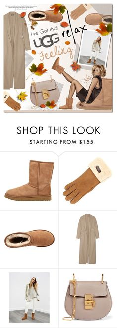 """""""The Icon Perfected: UGG Classic II Contest Entry"""" by justlovedesign ❤ liked on Polyvore featuring UGG Australia, UGG, The Row, H&M, Chloé, relax, ugg, contestentry and fallfeeling"""
