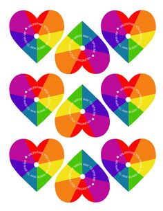 Free Printable Rainbow Heart Spinners - these make the perfect non-candy Valentines!